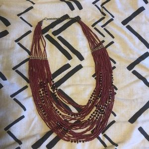Red layered necklace